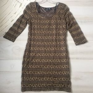NWOT Forever 21 lace metallic fitted dress CCO